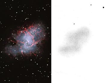 The Crab Nebula (M1) in Taurus, as photographed by the Kitt Peak 4-meter reflector (left) and sketched as seen through an 8-inch Cassegrain telescope under a superb dark sky (right).