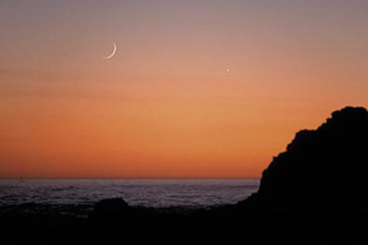 Crescent Moon and Venus at sunset