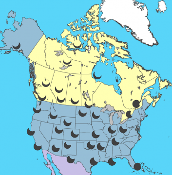 As the above graphic shows, The farther north you are, the deeper the partial eclipse will become. Click to enlarge image. Credit: Jay Anderson