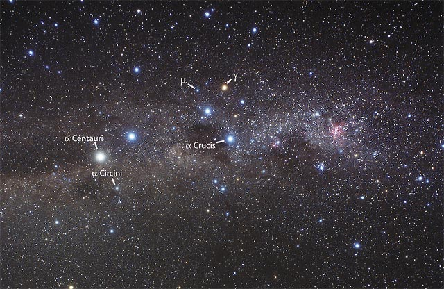 The Southern Cross with Alpha and Beta Centauri