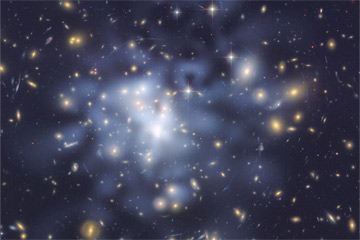 The dark matter concentrations in the galaxy cluster Abell 1689 are tinted blue. Astronomers determined the location of those concentrations from gravitational lensing. NASA, ESA, and D. Coe (NASA JPL/Caltech and STScI)