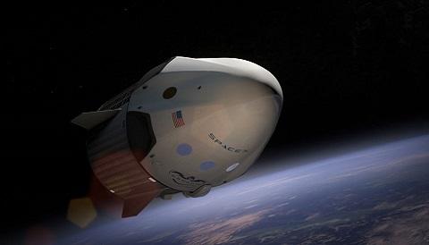 SpaceX's dragon v2 in orbit (art)