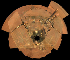Opportunity's dusty coating