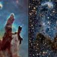 eagle nebula in visible and infrared