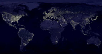 Earth at night, Astronomy Picture of the Day, Oct. 1, 2006