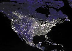 Earth at night as seen from space