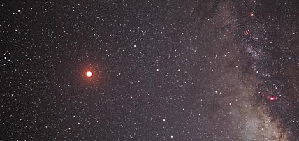 Eclipsed Moon and the Milky Way