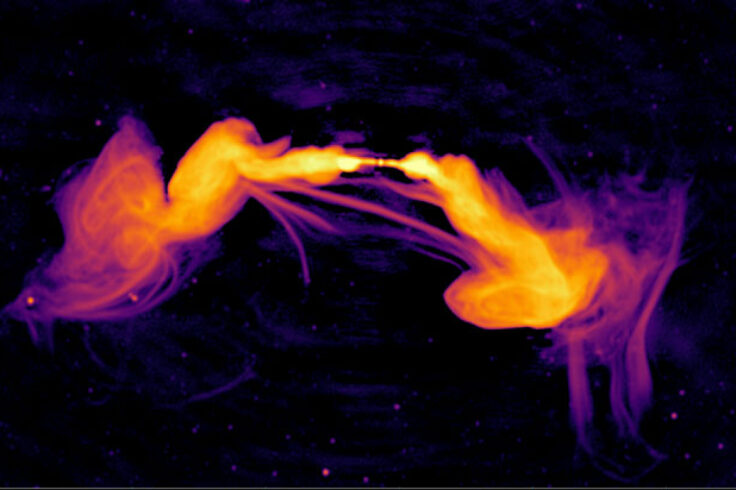 Magnetic channels in distant galaxy