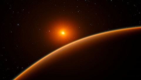 Artist's concept of super-Earth LHS 1140b orbiting red dwarf star