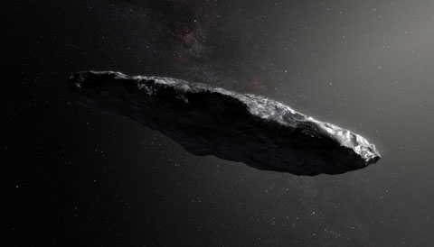 Portrayal of 'Oumuamua (1I/2017 U1)