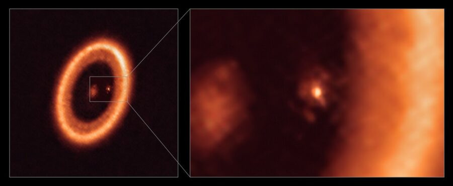 full PDS 70 disk system and zoomed in disk of one of its exoplanets