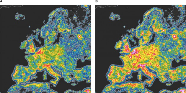 The image on the left shows the artificial sky brightness of Europe. On the right is what Europe would look like after a transition to LED technology, without increasing the amount of light of currently installed lamps. Falchi et al.
