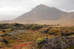 View of Snæfellsness mountinas across Búðahraun lava fields, Búðir, Iceland, October 2016.S&T: S. N. Johnson-Roehr