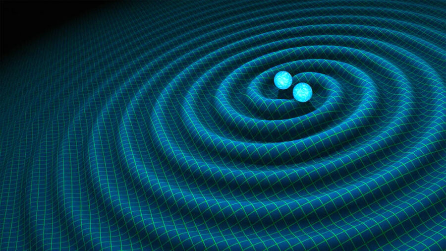 Artist's impression of a binary neutron star and the gravitational waves the system emits.