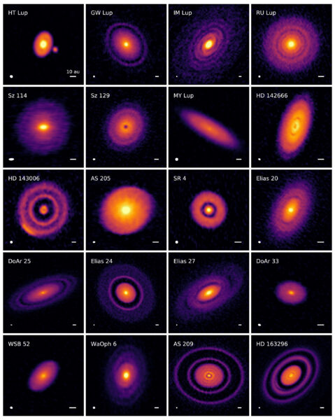 Continuum emission images of 20 protoplanetary disks.