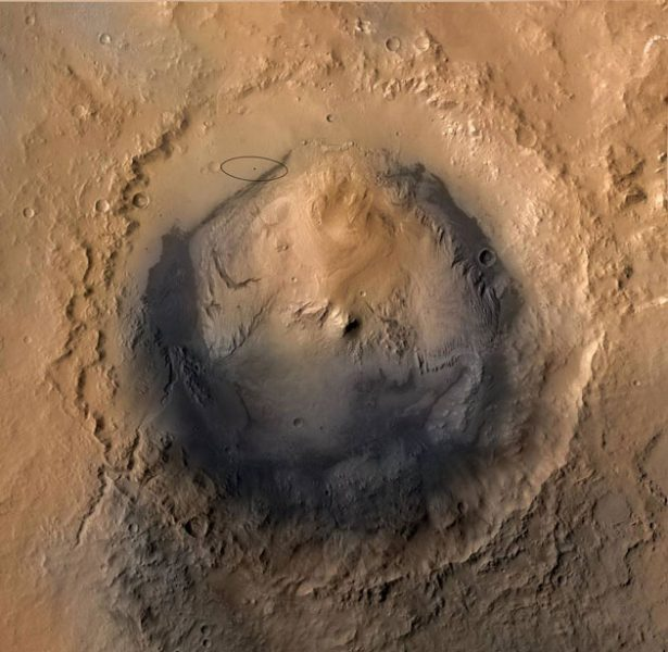 gale crater shown with Curiosity landing site.