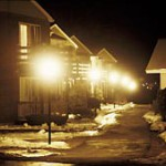 Harsh lights in residential neighborhood
