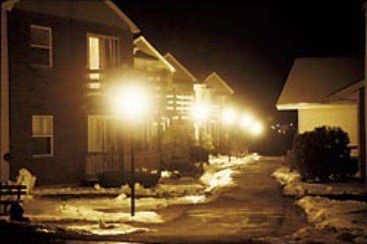 Harsh lights in residential neighborhood