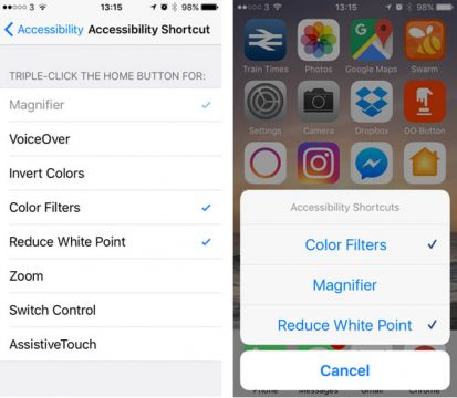 iPhone accessibility shortcut menus