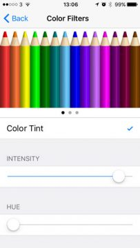 iPhone color filters screen