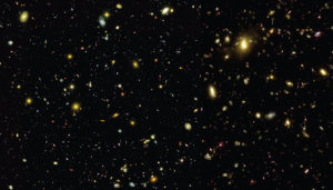 Hubble eXtreme Deep Field observations (2.8 arcmin on a side) in B, Z, H bands convolved with Gaussian point-spread functions of sigma = 0.04, 0.08, and 0.16 arcsec, respectively. Divided down the middle: real observation (left side) and mock observation from Illustris (right side).