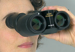 Image-stabilized binoculars for astronomy