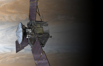 Artist's impression of Juno orbiting Jupiter