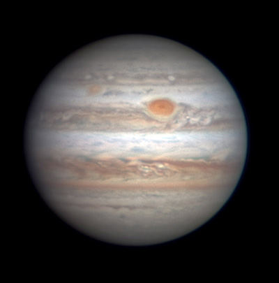 Jupiter with Red Spot on Jan. 24, 2017