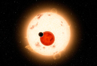 Kepler-16 system showing the two stars and planet b.