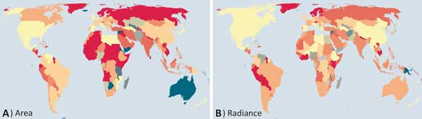 Changes in lit area and radiance, world-wide