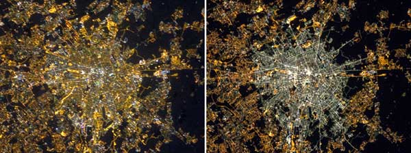 Milan nighttime lights in 2012 and 2015