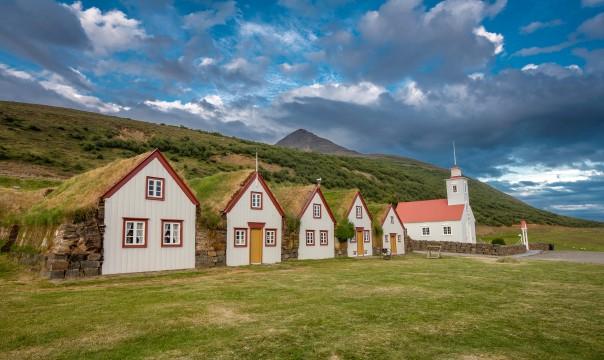 Turf houses and Laufáskirkja Church