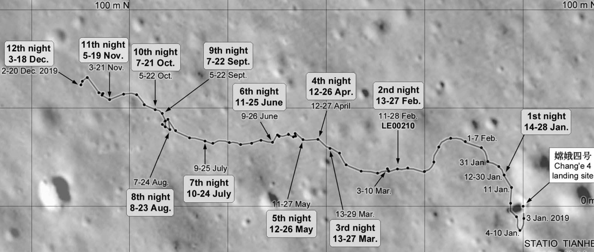 Map of Yutu 2 rover's path