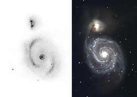 The Whirlpool Galaxy (M51) in Canes Venatici, as sketched by skilled observer Roger N. Clark using an 8-inch Cassegrain telescope under a perfect, pitch-black sky, and as imaged by a CCD-equipped 0.9-meter (36-inch) telescope on Arizona's Kitt Peak.