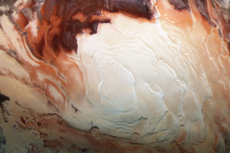 Mars south pole ice cap
