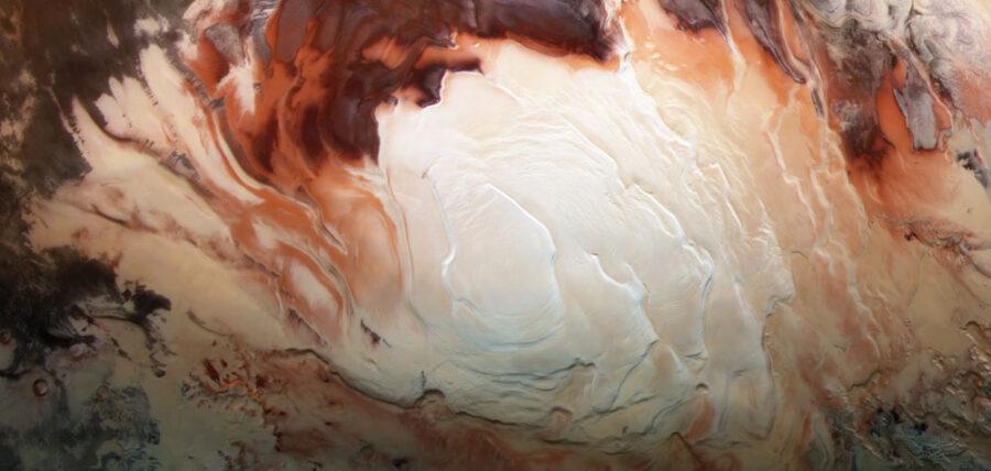 Mars south pole ice cap