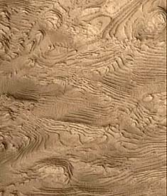 Layered terrain in Arabia Terra