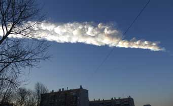 Meteor trail over Chelyabinsk