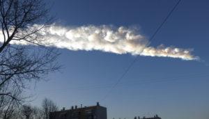 Meteor trail over Chelyabinsk