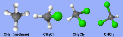 Chlorinated methane molecules