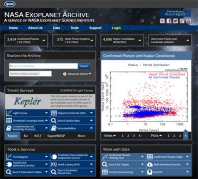 screenshot of NASA Exoplanet Archive