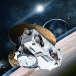 An artists impression of the New Horizons probe flying by Pluto. The craft with reach the dwarf planet in 2015, and cruise around the Kuiper Belt between 2016 and 2020.