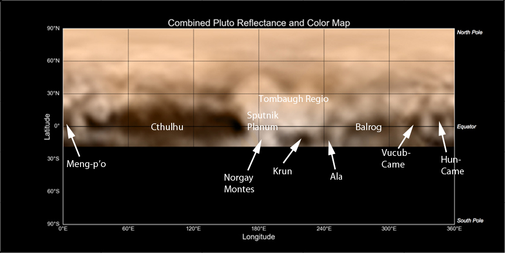 Preliminary names for Pluto features