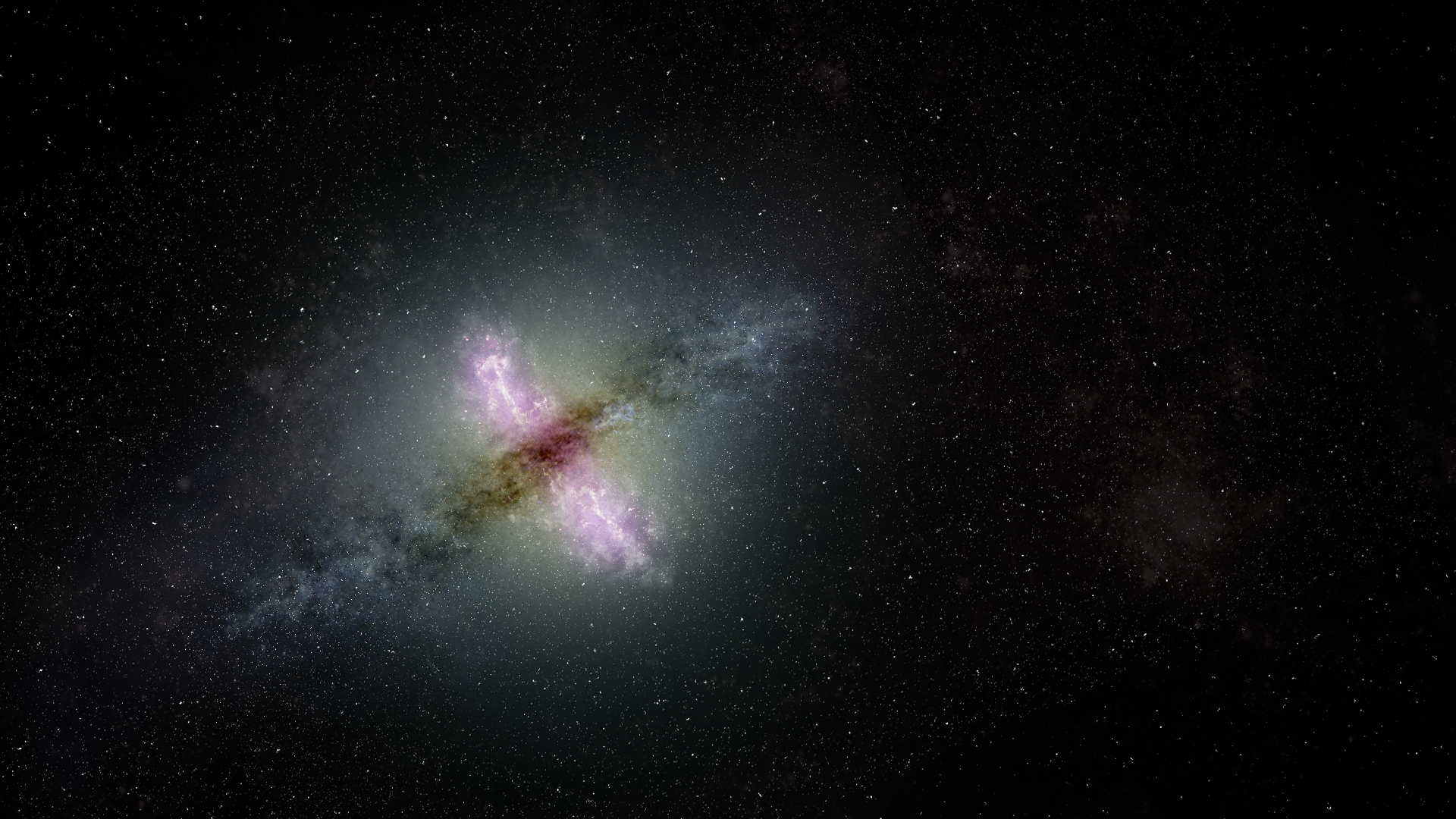 illustration of a galaxy with giant jets