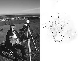 Champion of observing deep-sky objects; using a premium 101-mm (4-inch) telescope, Stephen James O'Meara has seen hundreds of deep-sky objects from the Big Island of Hawaii (left). His sketch of the North America Nebula, NGC 7000, (right) reflects good technique as well as a pristine site.