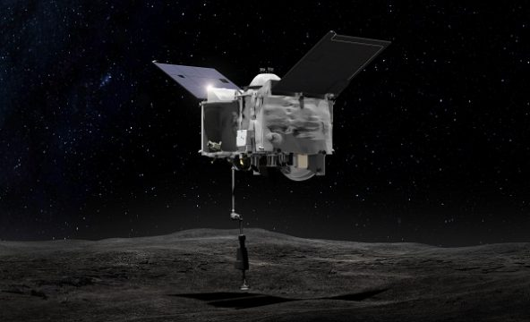 An artist's conception of OSIRIS-REx performing it's touch and go sampling maneuver. NASA
