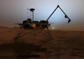 Illustration of Mars Phoenix lander at sunset