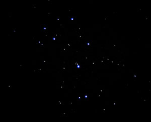 A splendid target for small telescopes is the Pleiades cluster, which shows dozens of stars in an attractive grouping.
