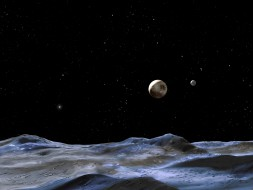 Artist's conception of Plutos, as viewed one of the moons. Pluto is the large disk at center, and Charon is the smaller disk to the right.NASA, ESA and G. Bacon (STScI)