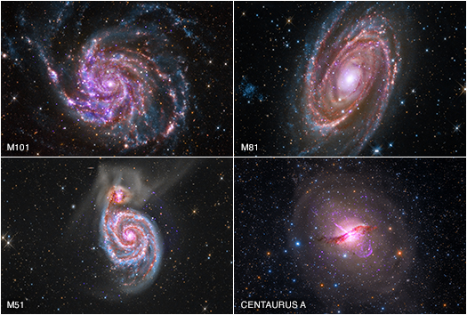 Amateur astronomers contribute to galaxy images in the visable, X-ray, and infrared spectrum